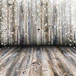 Laeacco Old Wood Texture Backdrop 10x10ft Vinyl Photography Background Cold Winter Snow Flake Vintage Wooden Wall Floor Scene Weathered Rustic Style Wood Backdrops Wedding Party Birthday Decor