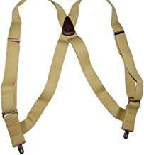 product image for Holdup Brand Tan Hip-clip Series side clip Suspenders with Patented No-slip Silver Clips