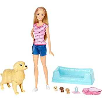 Barbie Newborn Pups Doll & Pets Playset, Blonde [Amazon Exclusive]