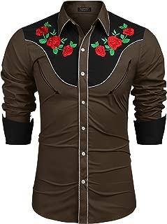 Men's Embroidered Rose Design Western Shirt Long Sleeve Button Down Shirt