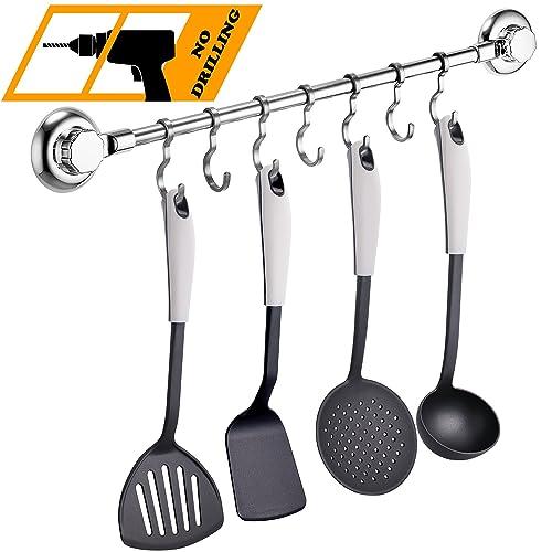 MaxHold système de vide Porte-serviette/porte-ustensile à 7 crochets ajustables - adhérer, pas de perçage - acier inoxydable - pour salle de bains et cuisine