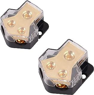 2 Stück Verteilerblock 1 Eingang Spur 0/2/4 mit 2 Ausgängen Spur 4/8 AWG für Auto Leistungsverstärker Paar Verteiler 2 Wege Verteilung für das Erdungskabel des Audio Systems der Auto Stromversorgung