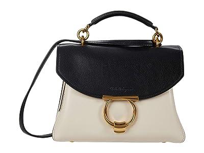 Salvatore Ferragamo Margot Bicolor Small Top-Handle (Bone/Nero) Handbags