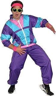 Foxxeo 80er Jahre Kostüm für Herren - türkis lila rosa - Trainingsanzug Fasching Karneval Motto-Party, Größe:L