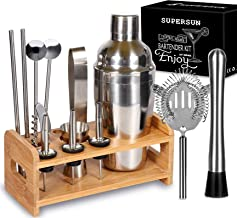 15 Piece Bartender Kit Cocktail Shaker Gift Set with Stand, SUPERSUN Home Bar Set - Martini Shaker with Built-in Strainer,...