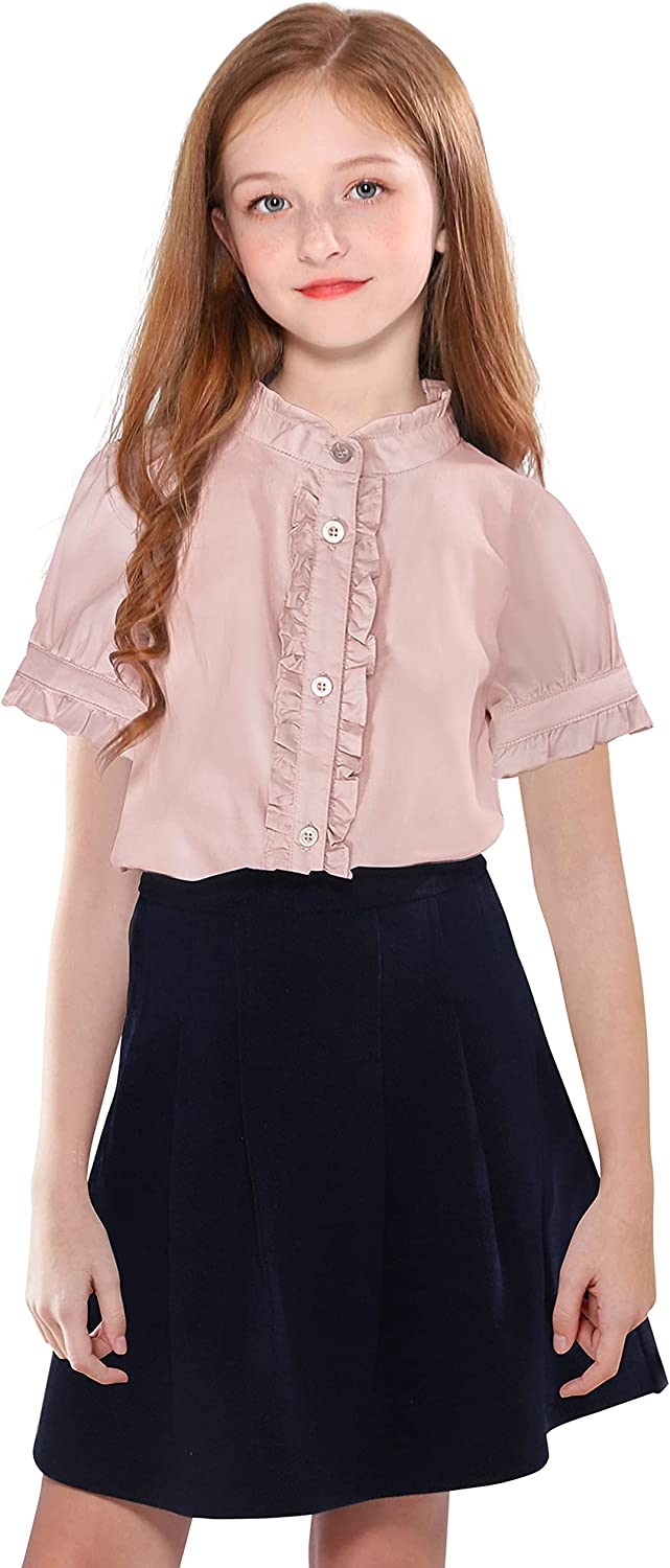SOLOCOTE Girls White Blouse Ruffle Sleeve Do Button Bubble Indianapolis Mall Short Time sale