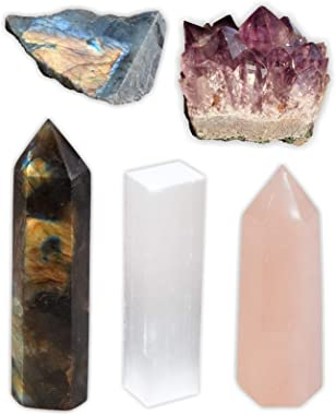 Mimosa Crystal Kit,Rose Quartz/Labradorite Point,Selenite&Amethyst Cluster 5-PCS