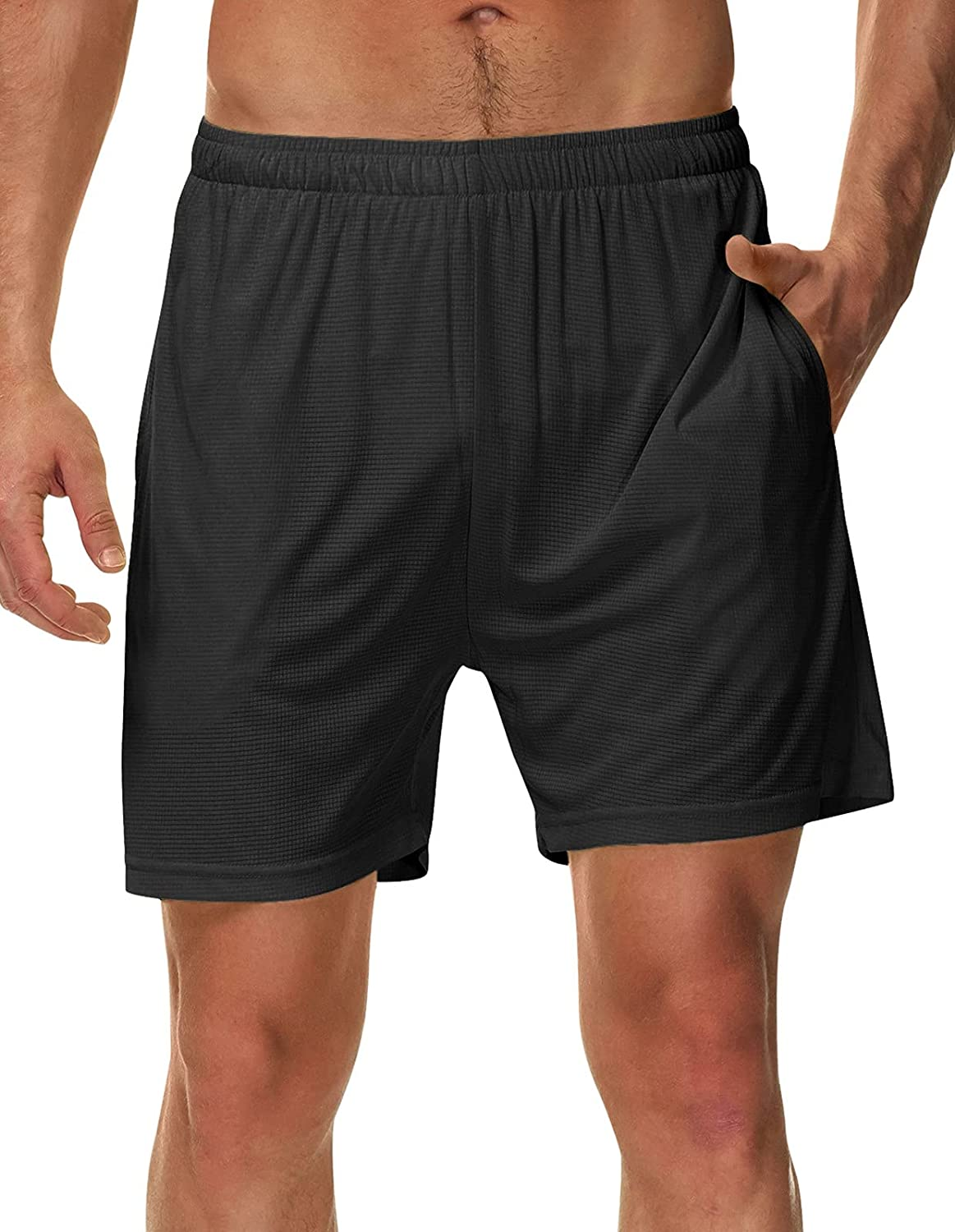 SPECIALMAGIC Men's Running Shorts with Liner 5 Inch Athletic Quick Dry Workout with Pockets: Clothing