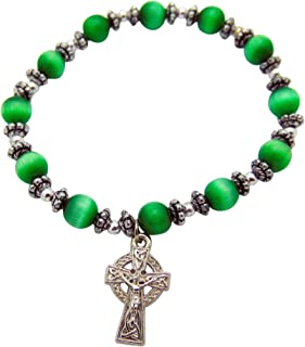 Celtic Cross Irish Charm Bracelet Glass Beads with Metal Pendant Includes Gift Bag
