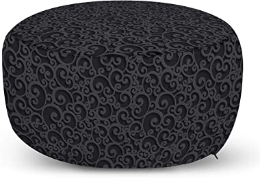 Ambesonne Dark Grey Ottoman Pouf, Abstract Victorian 3D Style Swirls Vintage Ornaments Royal Classical Floral Curls, Decorative Soft Foot Rest with Removable Cover Living Room and Bedroom, Dark Grey