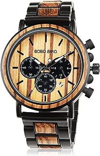 Wooden Mens Watch Stylish Wood & Stainless Steel 44MM Large Size Night Luminous Silver Needle Stylish Chronograph Sports Military Quartz Combined Retro Classic Wrist Watch