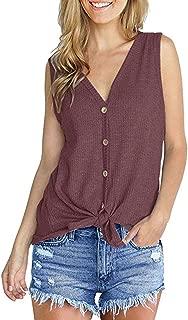 Womens Knit Tunic Blouse Tie Knot Henley Tank Tops Loose Plain Shirts S-XXL