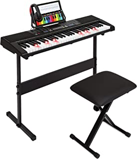 Best Choice Products 61-Key Electronic Keyboard Piano with Light-Up Keys, Recorder, 3 Teaching Modes, H-Stand, Stool, Headphones (Black)