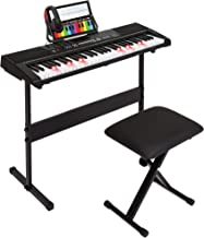 Best Choice Products 61-Key Electronic Keyboard Piano w/Light-Up Keys, Recorder, 3 Teaching Modes, H-Stand, Stool, Headphones (Black)
