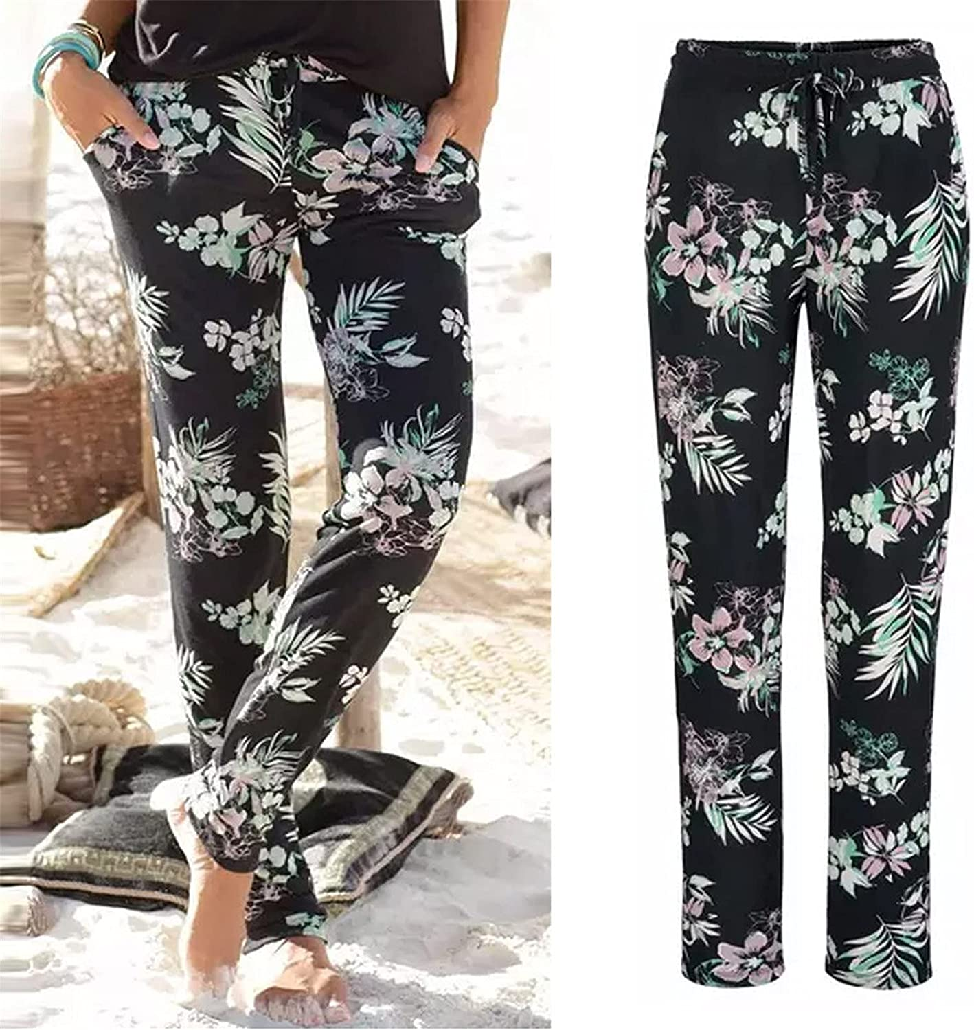 Yiihappy Little Story Women Trousers for Work,Women High Waist Printing Easy Trousers Long Pants