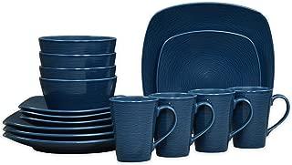 Noritake Navy on Navy Swirl 16-Piece Porcelain Square Dinnerware Set