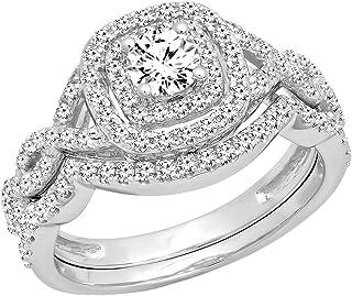 Dazzlingrock Collection AGS Certified 1.00 Carat (ctw) 14K White Diamond Bridal Halo Engagement Ring Set 1 CT, White Gold
