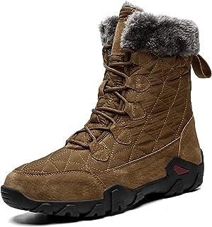 ZS ZHISHANG Bottes d'hiver pour Hommes imperméables,Men Winter Boots Waterproof Plush Warm Snow Boots Outdoor Male Hiking ...