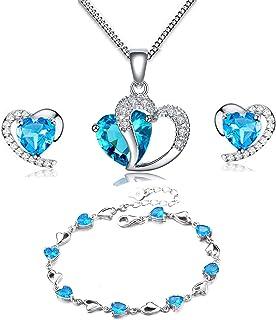 MixiuEuro Women Heart Necklace Earrings Bracelets Sets, 925 Sterling Silver Blue Crystal Cubic Zirconia Heart Pendant Neck...