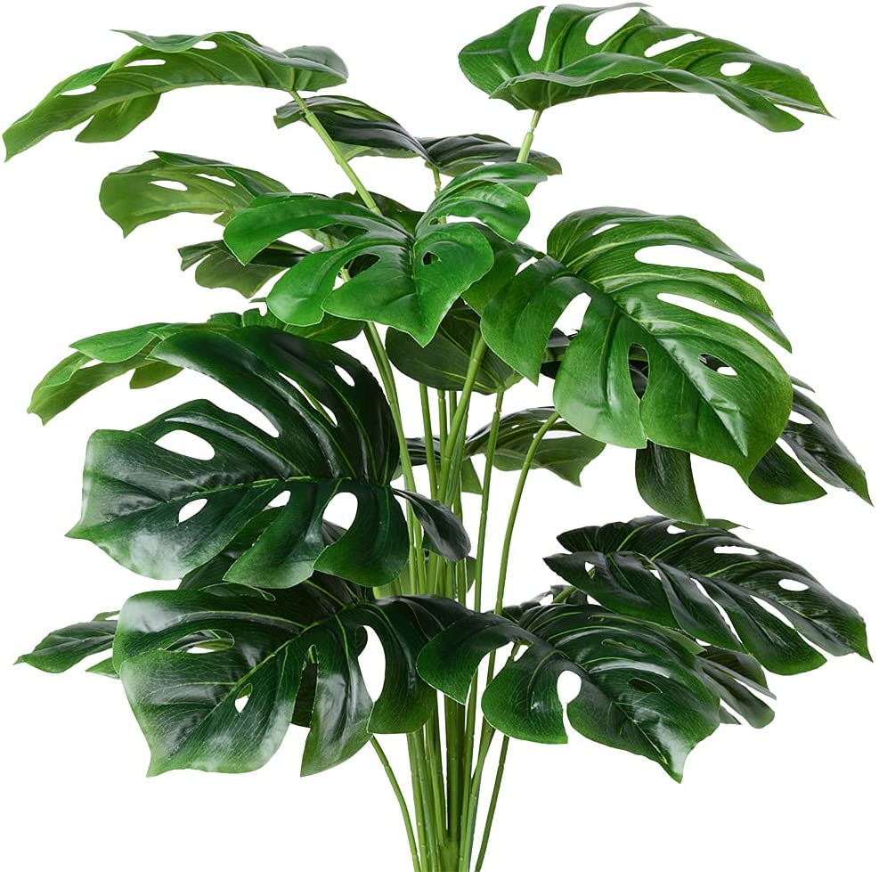 Artificial Palm Max 90% OFF Plants Complete Free Shipping Leaves Faux Leaf Fake Turtle Tro Monstera
