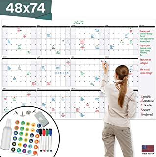 """$59 » Large Dry Erase Wall Calendar - 48"""" x 74"""" - Undated Blank 2020 Reusable Yearly Calendar - Giant Whiteboard Year Poster - Laminated Office Jumbo 12 Month Calendar"""