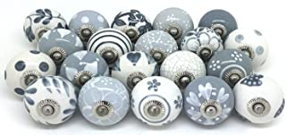 10 Knobs Grey & White Cream Hand Painted Knobs Ceramic Knobs Cabinet Drawer Pulls (WOTT)