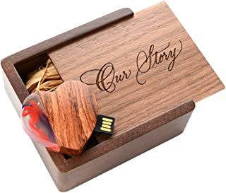 16GB Heart 2.0 USB Flash Drive - Inserted into a Engraved Matching Box with Raffia grass inside. Laser Engraved