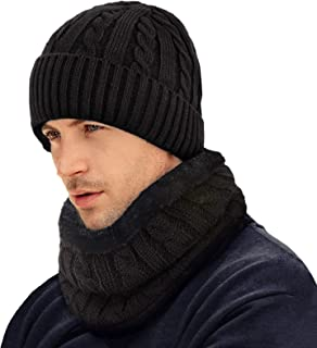 2 Pieces Winter Beanie Hat Scarf Set Thick Warm Fashion Knit Skull Cap Fleece Lined Scarves Gifts for Men Women