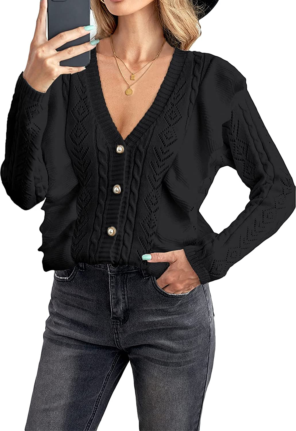 Happy Sailed Womens V Neck Button Down Long Sleeve Ruffled Cable Knit Cardigan Sweaters Outerwear Tops(S-XXL)