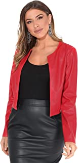 Krisp Womens/Ladies PU Cropped Open Style Jacket (UK Size: XL) (Red)