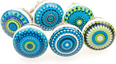 Gałka meblowa gałka meblowa zestaw 6 szt. 101GN mieszana niebieska mozaika - Jay guzik ceramika porcelana ręcznie malowane...