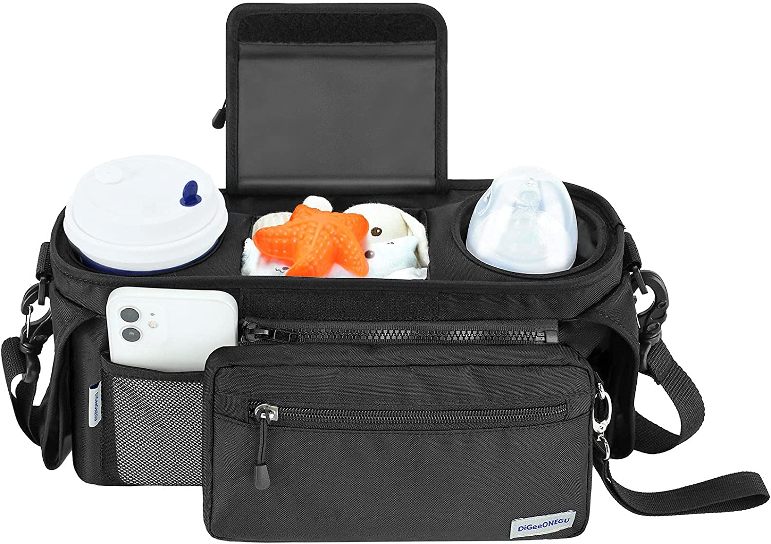Universal Stroller Organizer with Insulated Cup Holder, Non-Slip Strap & Detachable Wristlet Wallet,Equipped with Shoulder Strap,Diaper Wet Wipe Storage, Reasonable Design Fit All Strollers