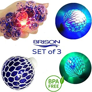 Set-of-3 Led Anti-Stress Ball- Squishy Light-up Ball- Anti Stress Toys for Kids - Mesh Stress Ball - Grape Ball - DNA Ball- Prime Slime Stress Ball - ADHD Fidget Toys - Net Stress Squishy Ball