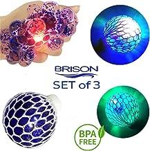 Set-of-3 Led Anti-Stress Ball- Squishy Light-up Ball- Anti Stress Toys for Kids - Mesh Stress Ball - Grape Ball - DNA Ball- Prime Slime Stress Ball - ADHD Fidget Toys - Net Stress Squishy Ball