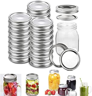 Canning Lids and Bands for Mason Jars Regular Mouth- Leakproof Storage Can Covers Caps and Rings Disc with Silicone Seals,...