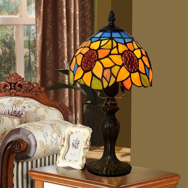 8-Zoll-Glasmalerei Tischlampe - European Rural Creative Wohnzimmer Esszimmer Schlafzimmer Nachttischlampe (gre   Dia 20cm)