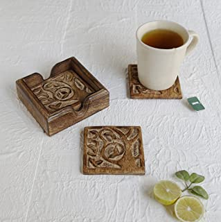 Handmade Set of 6 Wooden Coasters for Drink Tea Coffee Table Coaster with Stand (Tree Of Life)