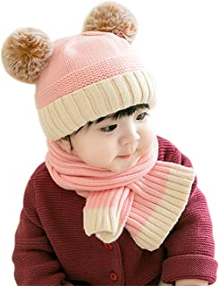 Baby Toddler Winter Warm Beanie and Scarf set- Lovely Knitted, Warm Lined, Thick Stretchy