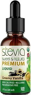 Creamy Vanilla Premium Quality Stevia Drops | Organic Liquid Stevia | Best Sugar Substitute | 100% Pure Extract | All Natu...