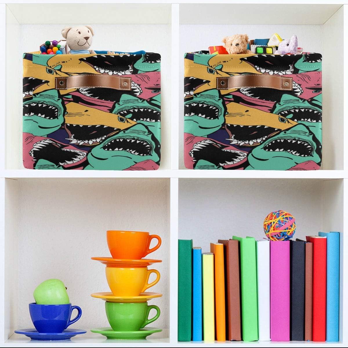 BIGJOKE Animal Wild Wolf Print Storage Basket Cube Toy Storage Bin Clothes Basket Collapsible with Handles Fabric Storage Basket for Shelf Nursery Home Closet /& Office