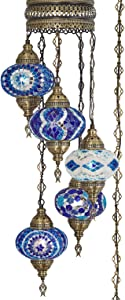 (10 Colors) Swag Plug in Light, Demmex 5 Big Globes Turkish Moroccan Mosaic Tiffany Swag Wall Plug in Ceiling Hanging Light Chandelier Lighting, 15feet Chain Cord North American Plug (Blues)
