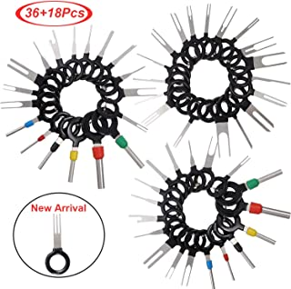 Mudder 54 Pieces Terminals Removal Key Tool Set Car Pin Extractor Wiring Crimp Key Extractor Connector for T0025E Auto Terminals