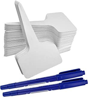 ishua 1000Pcs Plant Tags, Garden Nursery Labels Plastic Pot Stakes 2.36'' x 3.94'' inch Grayish White, T-Type Tags Markers for Greenhouse Humidity Dome Orchard Botanical Garden