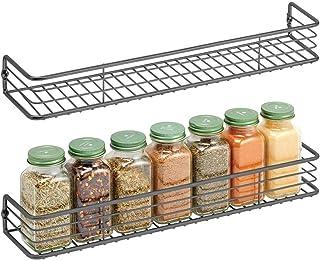 mDesign - Kruidenrek in 2-delige set - keukenorganizer - voor kruiden, specerijen, potjes en ander voedsel - wandmodel - p...