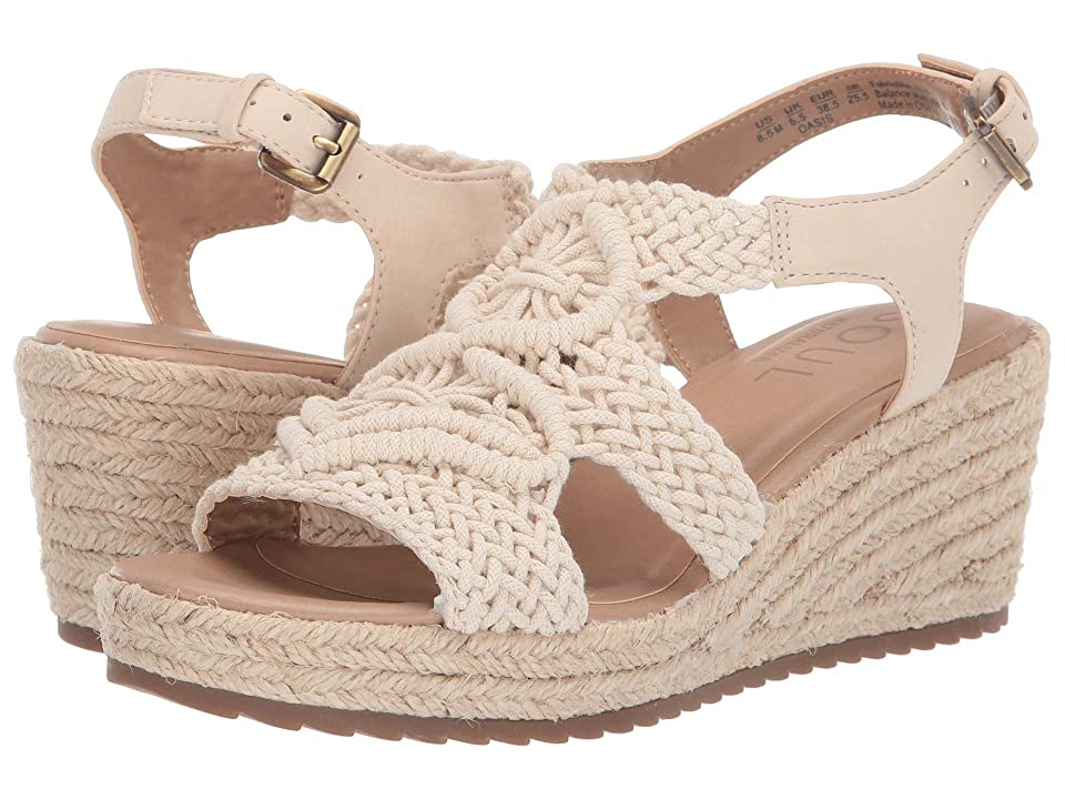 SOUL Naturalizer Oasis (Porcelain Macrame/Fabric/Smooth) Women's Wedge Shoes, Beige