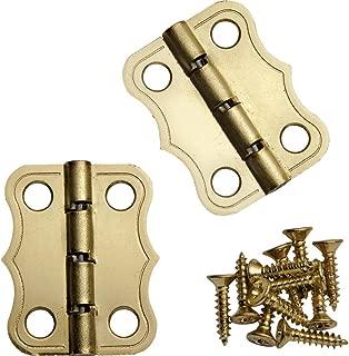 Decorative 90° Stop Hinges, Brass, Pair
