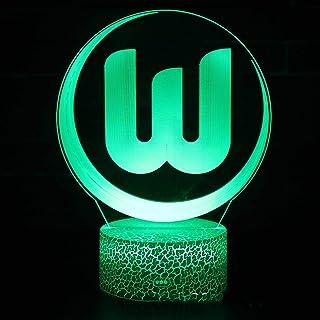 3D LED Nachtlicht, 3D VFL Wolfsburg Team Logo, mit Fernbedienung, 16 Farben variabel, berührbar, für die Inneneinrichtung, Geschenke für Kinder