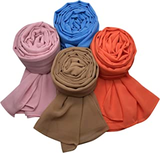 MANSHU 4 PCS Women Soft Chiffon Scarves Shawl Long Scarf Wrap Scarves F Series