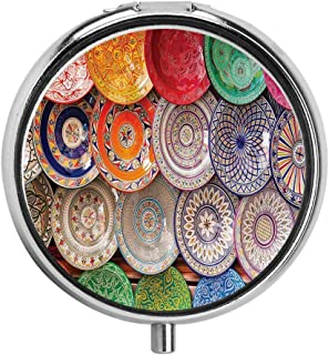 HOOSUNFlagrbfa Traditional Arabic Handcrafted Colorful Plates Shot at The Market in Marrakesh Pill Case Round Tablet Medicine Pocket Purse Travel Pill Box Holder