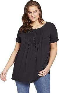 Women's Plus Size Pintucked Henley Tunic